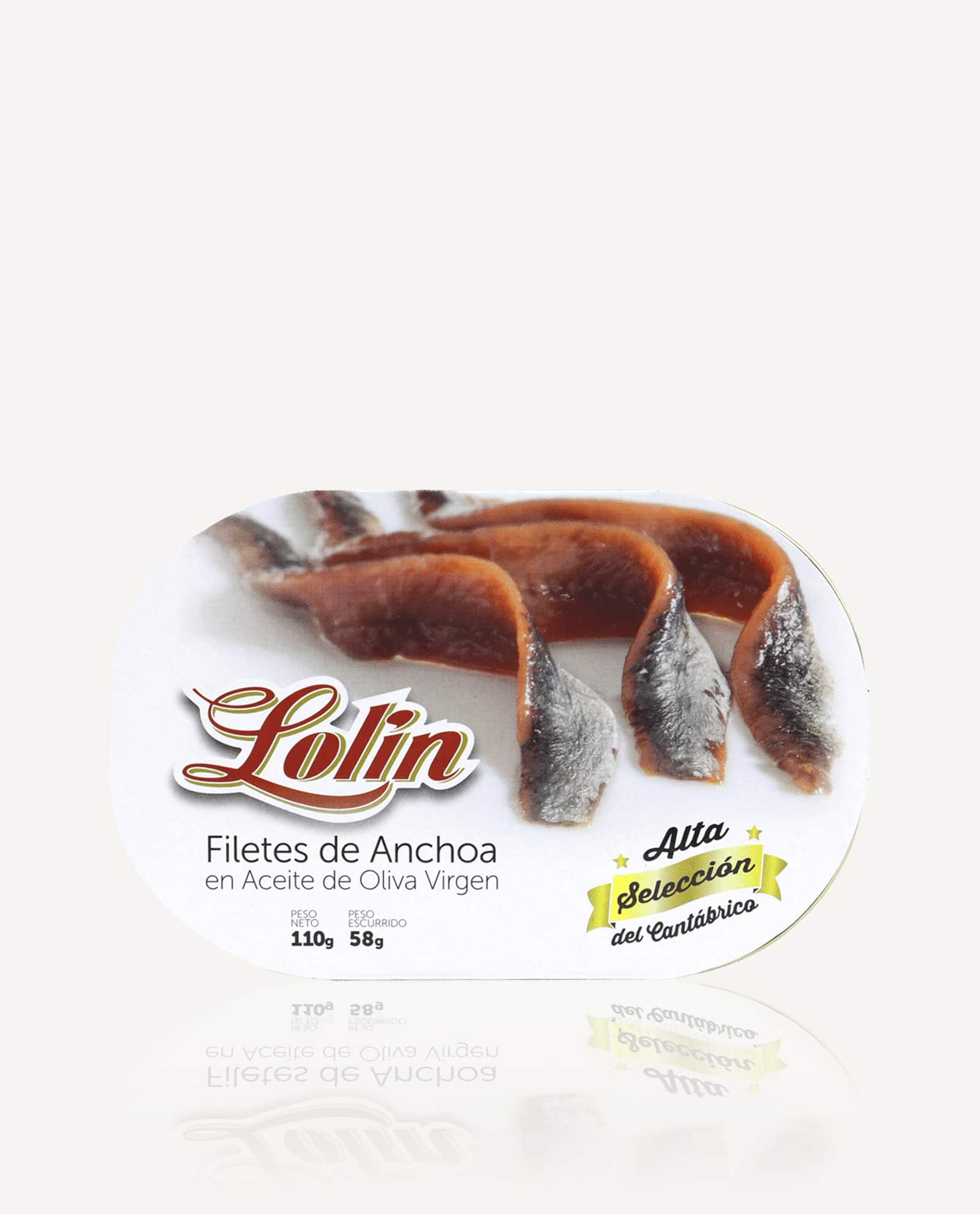Filetes de anchoas Lolin en aceite de oliva 110g